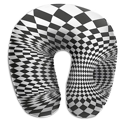 Almohada para el Cuello Cuadrado geométrico Blanco y Negro Óptico en Forma de U Almohada de Viaje Diseño ergonómico Contorneado Funda Lavable