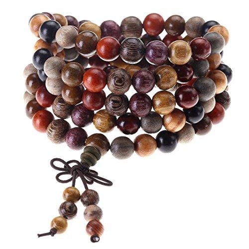 JOVIVI - Rosario buddhista tibetano, Mala, cinese, perle multicolori in legno naturale da 8 mm, esastico, uomo e donna.