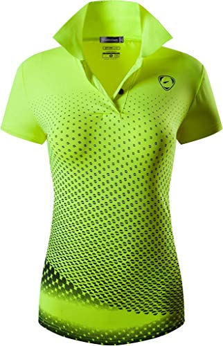 jeansian Women's Sport T-Shirt Short Sleeve Golf Tennis Badminton Bowling SWT251 GreenYellow S