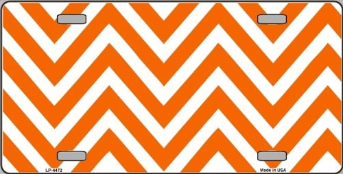 Orange | White Large Chevron Print Blank Metal License Plate Tag Sign Blanks