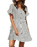 YOINS - Vestido de gasa de lunares con cuello en V, de verano, con mangas holgadas, para mujer