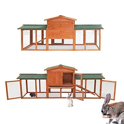 WilTec Conejera Corral Jaula Conejos casa roedores hámsteres Mascotas Espacio Libre Corredor...