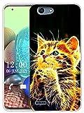 Sunrive Kompatibel mit Vodafone Smart E8 Hülle Silikon, Transparent Handyhülle Schutzhülle Etui Hülle (X Katze)+Gratis Universal Eingabestift MEHRWEG