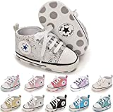 SABATUTU Unisex Baby Boys Girls Shoes Star High Top Ankle Toddler Sneaker Soft Anti-Slip Sole Newborn Infant First Walkers Canvas Denim Crib Shoes (Sequins Silver, 0-6 Months)