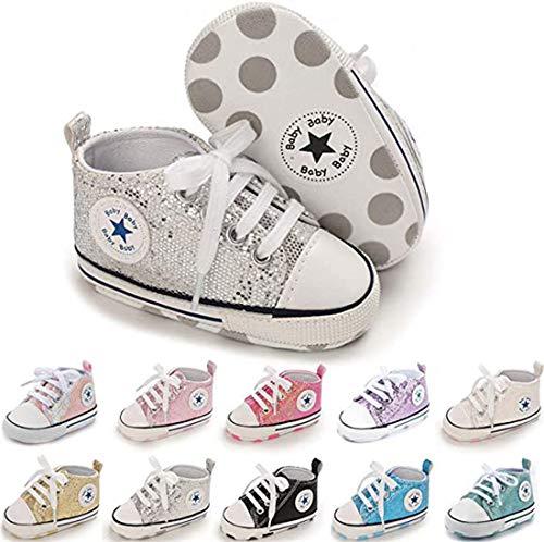 Baby Girls Boys Shoes Soft Anti-Slip Sole Newborn First Walkers Star High Top Canvas Denim Unisex Infant Sneaker (B01-sequins Sliver, 0-6 Months)