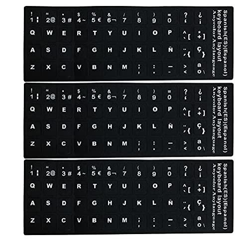 Sraeriot Pegatinas De Teclado Reemplazo Español No Transparente con Fondo Negro sobre Letras Blancas para Computadoras Portátiles Desktops 3pcs Decoración De Escritorio Y Almacenamiento De Artículos