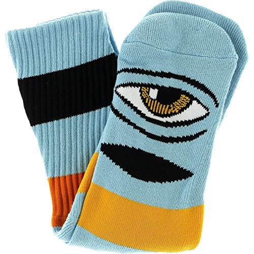 Toy Machine Skateboards Sect Eye Big Stripe Baby Blue Crew Socks - One size fits most