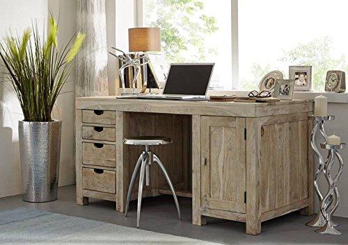 MASSIVMOEBEL24.DE Akazie massiv Möbel Holz Schreibtisch Massivmöbel Nature White #70 getüncht