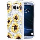 Galaxy S7 Case, Flocute Galaxy S7 Glitter Floral Case Flower Bling Sparkle Floating Liquid Soft TPU Cushion Luxury Fashion Girly Women Cute Case for Samsung Galaxy S7 (Sunflower)