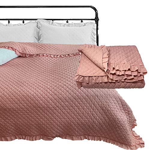 HOMELEVEL Tagesdecke Bett & Sofaüberwurf 240cm x 220cm Bettüberwurf Sofa Tages Decken Betthusse XXL Decke Überwurf Altrose Rüschen