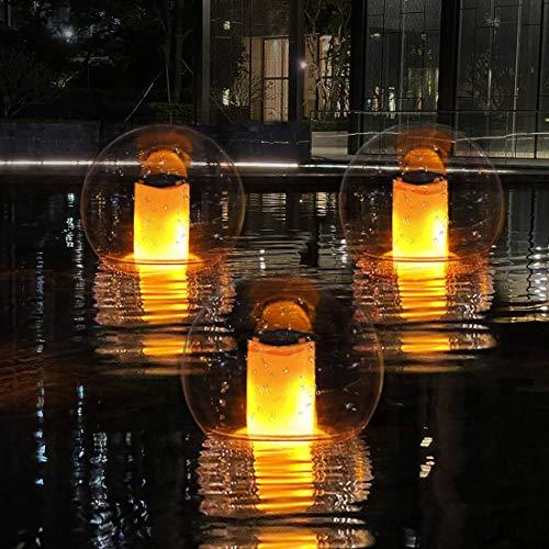 Lámpara de llama LED Luces solares para Piscina, IP68 Impermeable Lámpara llama Decorativa Danzante Luz Bola Jardin, Luz de Noche de Humor para Pool, Estanque, Spa, Fiesta, Camino, Camping-1 pieza