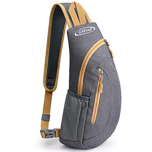 G4Free Leichte Brusttasche Sling Schulter Rucksäcke Nette Umhängetasche Dreieck Pack Rucksack zum Wandern Radfahren Reisen oder Multipurpose Tagepacks (Grau und Gelb)