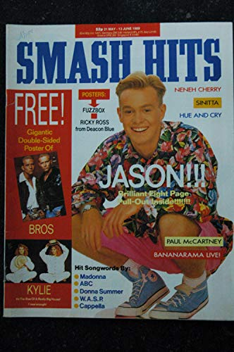 SMASH HITS UK vol. 11 n° 11 may 1989 JASON - Madonna - ABC - Donna Summer - BROS - Kylie