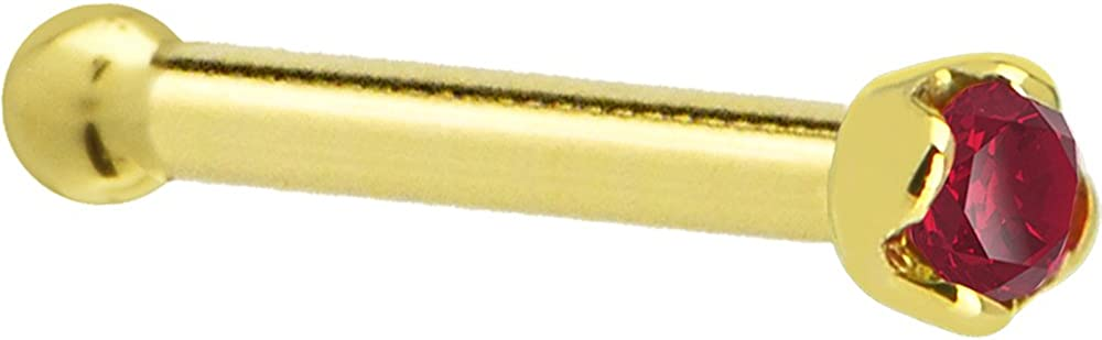 Solid 14k Yellow Gold 1.5mm Genuine Nose Ruby Bone Ranking TOP2 Gauge Miami Mall Stud 18