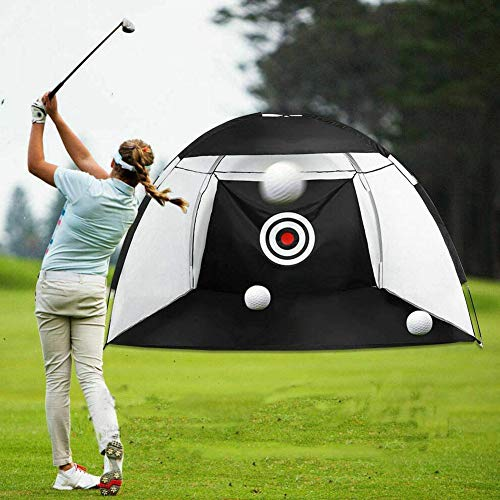 Sokey 2M Golf Hitting Net Outdoor Indoor Foldable Golf Practice Cage Driving Hitting Net Training Aid (2M Black)