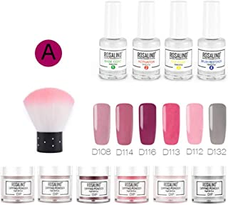 Dipping Powder Nail Kit with 6 Colors Glitter, Dip Powder Nail Starter Kit for French Nail Manicure Nail Art Set Essential Kit