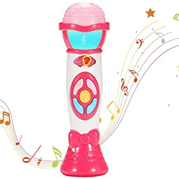 ThinkMax Microphone for Toddler, Kids Microphone Toy with Voice Change, Recording, Play Music and Colorful Light (Light Pink)