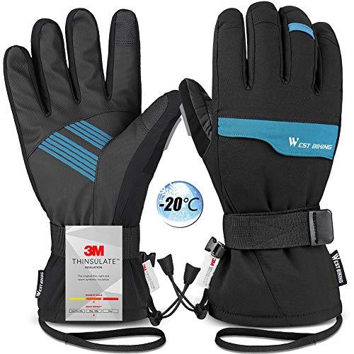 WESTGIRL Skihandschuhe Wasserdicht Winddicht, 3M Thinsulate Thermo Warm Winterhandschuhe für Herren Damen, Touchscreen Anti Rutsch Outdoor Sporthandschuhe für Radfahren Laufen Wandern Klettern