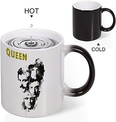 Queenアイデアマグカップ 変色カップコーヒーカップティーカップセラミックカップお湯入れると変色おもしろいセラミッ贈り物 誕生日ギフト プレゼント(330ml)