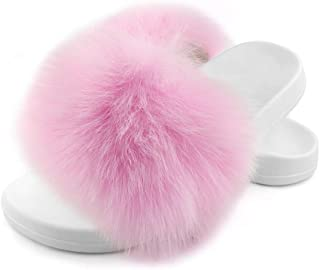 Women's Real Fox Fur Slides, Open Toe Cute Fur Slippers, Indoor or Outdoor Comfortable Fur Slide Sandals with Fluffy Fur and White Soft Sole