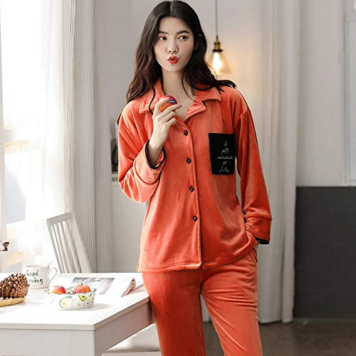 B/H Pijamas navideños Conjunto Familiar,Pijama cálido de Invierno Grueso para Mujer, 7707_L,Pijamas de Franela Suave Cálida Ropa