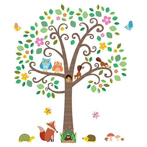 Decowall DA-1502N Groß Blätter Baum Waldtiere Tiere Wandtattoo Wandsticker Wandaufkleber Wanddeko für Wohnzimmer Schlafzimmer Kinderzimmer