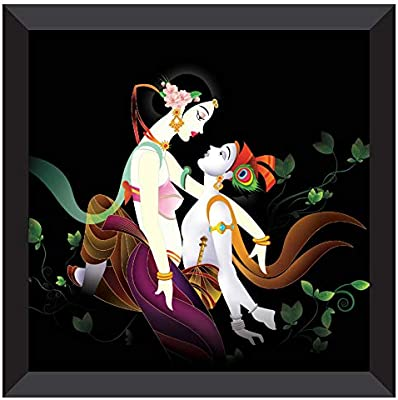 SAF UV Coated Radha Krishna Modern Art Multieffect Digital Reprint Painting 12 inch X 12 inch SANF21031