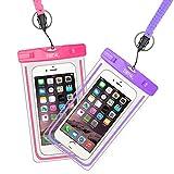 EOTW 2 Stück wasserdichte Handy Hülle, Wasser- & staubdichte Hülle für iPhone, Samsung, Nexus, HTC & mehr, Super Hülle für den Strand & Wassersport (Lila + Pink)