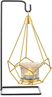 Sziqiqi Geometric Tea Light Candle Holder with Votive Glass and Display Stand, for Candle Flower Greenery Air Plant Tabletop