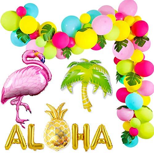 Kreatwow Tropical Balloon Garland Hawaiian Luau Aloha Balloon Arch Kit Balloon Banner for Flamingo Birthday Decorations 101 Pack