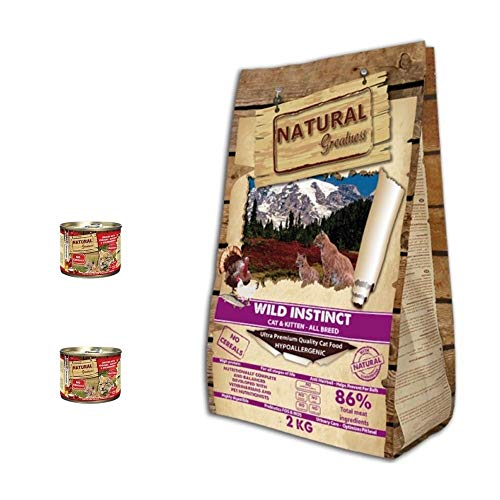Natural Greatness Pienso para Gatos Wild Instinct Gatitos y Adultos Saco 2 kg Incluye 2 Latas Comida Húmeda Pollo con Yogurt 200 gr | ANIMALUJOS