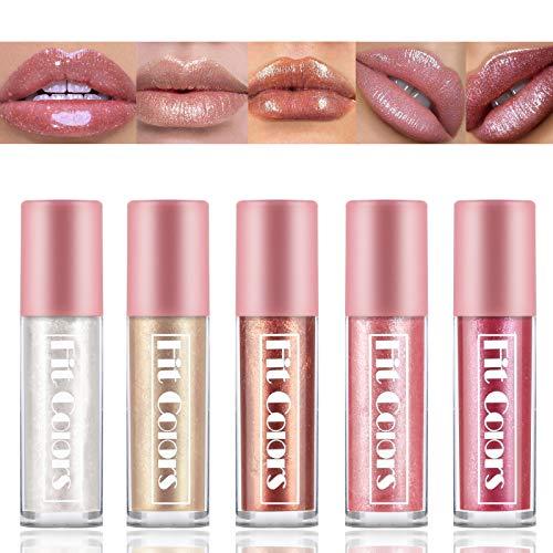 Freeorr 5Pcs Shimmer Pearlescent Lipgloss, Matt Non-stick Cup Meerjungfrau Lipgloss Glitter Flüssiger Lippenstift Wasserdichter Lipgloss Moisturizing, Long Lasting Lip Glaze Set