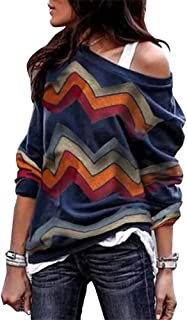 Womens Casual Loose Long Sleeve Off Shoulder Top Pullover Shirt Blouse