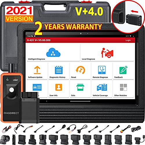 Launch X431 V+ Bluetooth Car Diagnostic Scanner Full System OBD2 Code Reader Android Tablet with 2 Years Online Update DBScarII Bluetooth Connector Module and Complete Accessories Set
