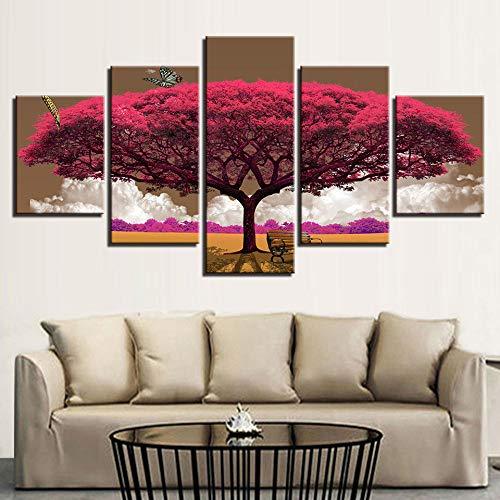 WJLBB Zum Zuhause Wandbilder Zum Zuhause Wandbilder Wandkunst Gemälde Bilder 5 Stück/Stück Pink Tree Landscape Home Decor Wohnzimmer Hd Gedruckte Moderne Leinwand