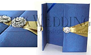 Brilliant Sapphire Blue Luxury Silk Folio For Grand Occasion Invitations