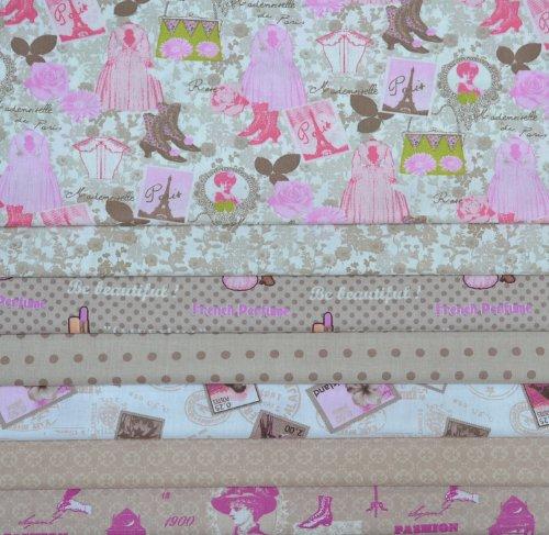 Set de telas - 7 telas (Colección ELEGANCIA - marrón y rosa) - colección de telas de coordinación (pequeños diseños)   100% algodón   46 x 56 cm