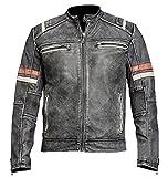 CANleather Men Vintage Biker Retro Motorcycle Cafe Racer Moto Distressed Leather Jacket (Medium)