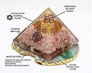 Energy Generator Orgone Rose Quartz David Star Pyramid | Emf Protection and Healing Stones Crystal Chakra - Orgone Pyramid By Agate Jewelry