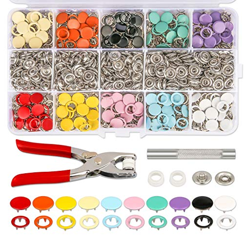 K Kwokker 804Pcs Grommets Snap Fasteners Kit 9.5mm 10 Colors Leather Rivets Buttons Metal Press Studs Environmentally Prong Ring Button for Children's Bodysuit, Romper, Clothing, Bib, Crafting Sewing