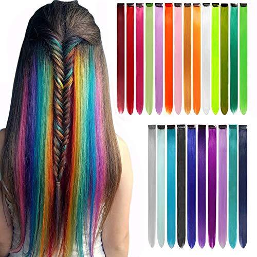 Farbige Haarverlängerung Clips Comius 24 Farben Bunte Haarsträhnen Glatte Regenbogen Gerade(DIY) Weihnachten Für Mädchen Kinder Synthetisch Haarteil 24 Stück