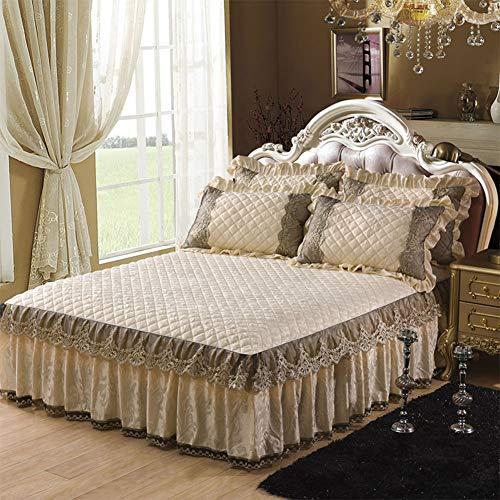 Spitze Bett Rock, Plüsch Bett Volant Tagesdecke Mit rüschen Gesteppter Faltenresistent und ausbleichen beständig Hotel qualität-Weiß 180x200cm/71x79inch