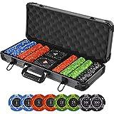Poker Chips Set, 400pcs Premium Poker Chip, 13.5 Gram Casino Chips with Denominations, Deluxe Aluminum Carrying Case/Cards/Dealer Buttons for Poker Games, Gambling, Blackjack, Texas Holdem