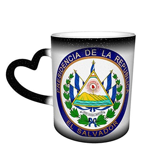 Hdadwy Taza mágica de café en forma de corazón con cambio de color del escudo de armas de El Salvador