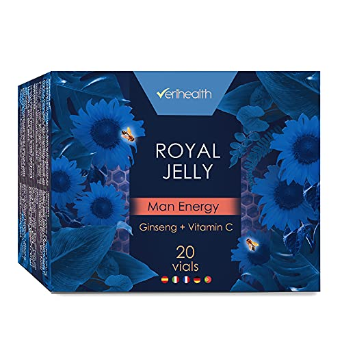 Verihealth   Jalea Real Liofilizada Men Energy con Vitamina C y Zumo de Granada   Mejora el Rendimiento Físico-Mental   Aporta Fuerza y Energía   20 Viales   Tomar 1 Vial/Día Preferiblemente en Ayunas