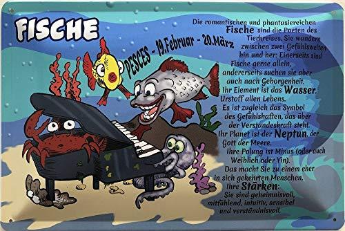 Deko7 blikken bord 30 x 20 cm Pesces 19.februari - 20 maart - sterrenbeeld vis