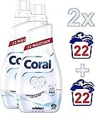 Coral Flüssigwaschmittel, für strahlendes Weiß White+ mit Faser-Schutz-Serum (2 x 22 WL)