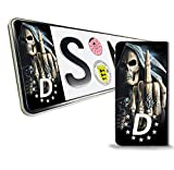 SkinoEu® 2 x Vinyl Aufkleber Nummernschild Kennzeichen JDM Tuning Auto Motorrad Skull Schädel...