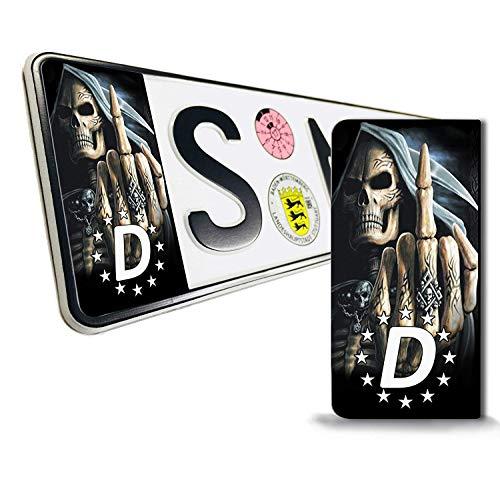 SkinoEu® 2 x Vinyl Aufkleber Nummernschild Kennzeichen JDM Tuning Auto Motorrad Skull Schädel Totenkopf Stickers EU QV 13