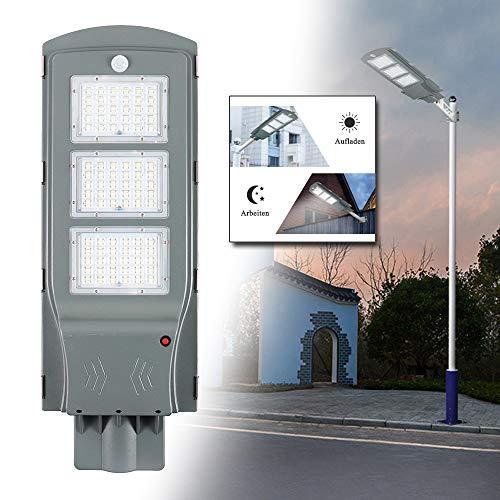 LeMeiZhiJia LED Straßenlampe Solar IP65 Wasserdicht mit Lichtsteuerung und Motion Sensor Light für Straßenbeleuchtung Außenparkplatz - 60W Kaltweiß